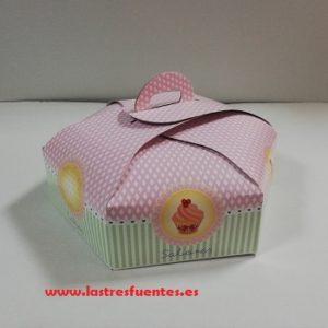 caja hexagonal tarta
